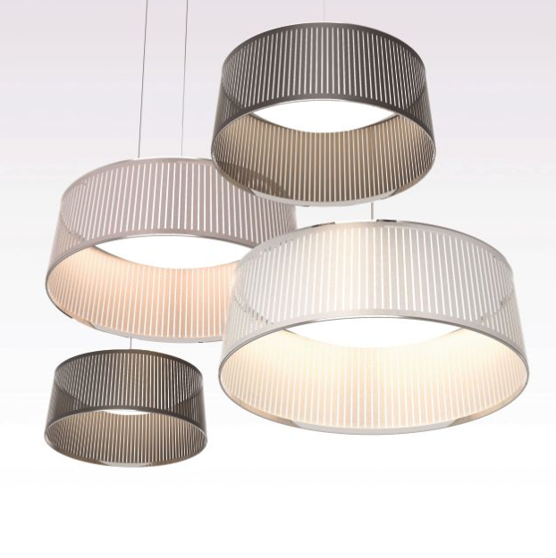 Any one of the  Solis Drum  fixtures by Pablo Studio & Carmine Deganello would be an elegant addition to an office space.  It would be an excellent choice suspended above a small conference table or hung in tandem in an expansive lobby.