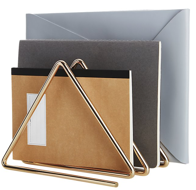 This Gilded File Holder would be an elegant way to house your active files.