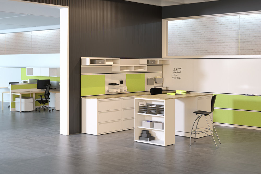 Kimball Office Perks accessories provide the perfect canvas for organization. Utilizing the right materials like fabrics will provide you with a functional backdrop