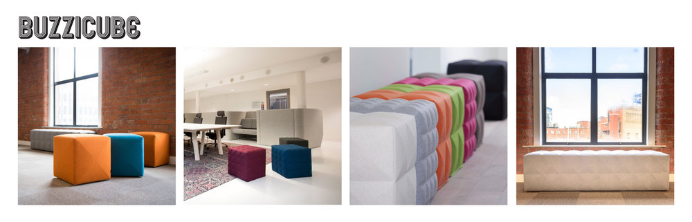 Who doesn't love a good pouf for extra seating or lounge areas? The BuzziCube is made out of sound absorbing 3D foam that can be covered in variety of fabrics and come in a flat or tufted design.