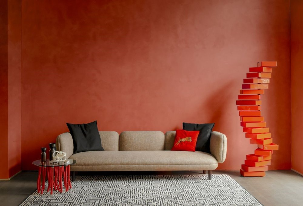 Wallcoverings are an easy way to get on-trend colors into an otherwise neutral space on a budget.