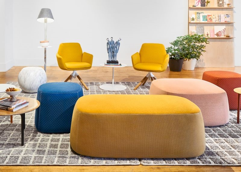 ChickPouf, designed by the famous Patricia Urquiola recently expanded it's product offerings with additional sizes like this large square Pouf. We can also offer small square with or without back, rectangle and extra-large round – any of which pairs perfectly in social spaces facilitating those innovative conversations.