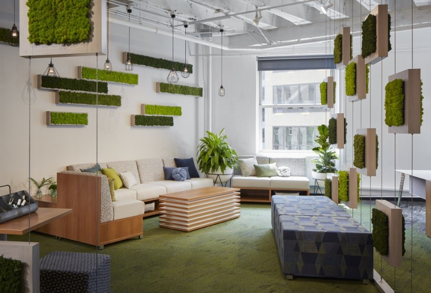 Tracing back to 2016;s Color of the Year Greenery – plant-based hues are here to stay. Incorporating Terrarium Moss can easily be achieved by adding live-walls or other biophilic inspired design.