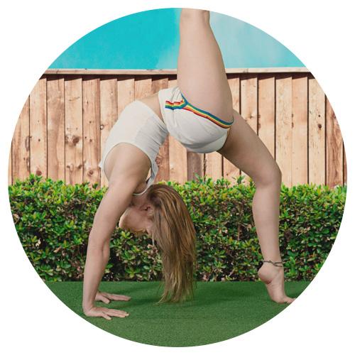 model doing yoga