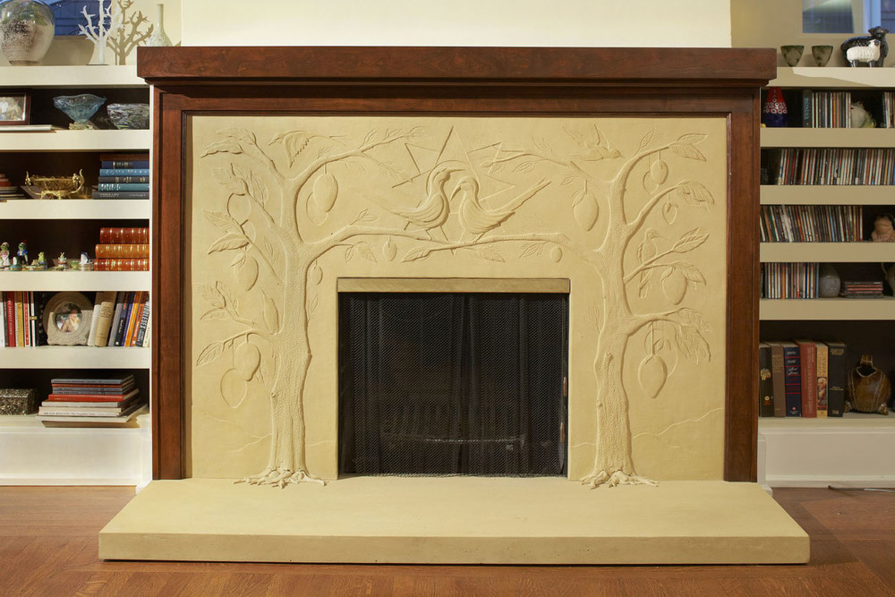 Tropical Fireplace , 2008. Cast concrete facade, floor slab, and cherry mantle. Private residence, Squirrel Hill, Pittsburgh. The client requested that the design resonate with Haitian art.