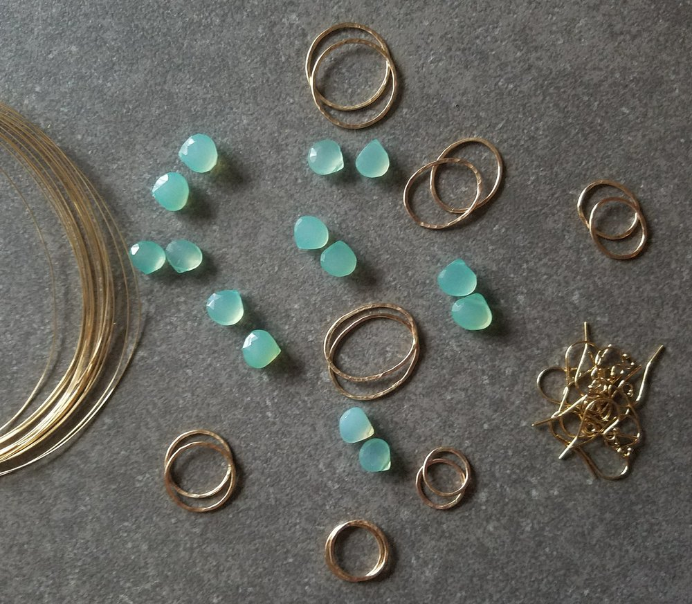 view of materials before earrings are made