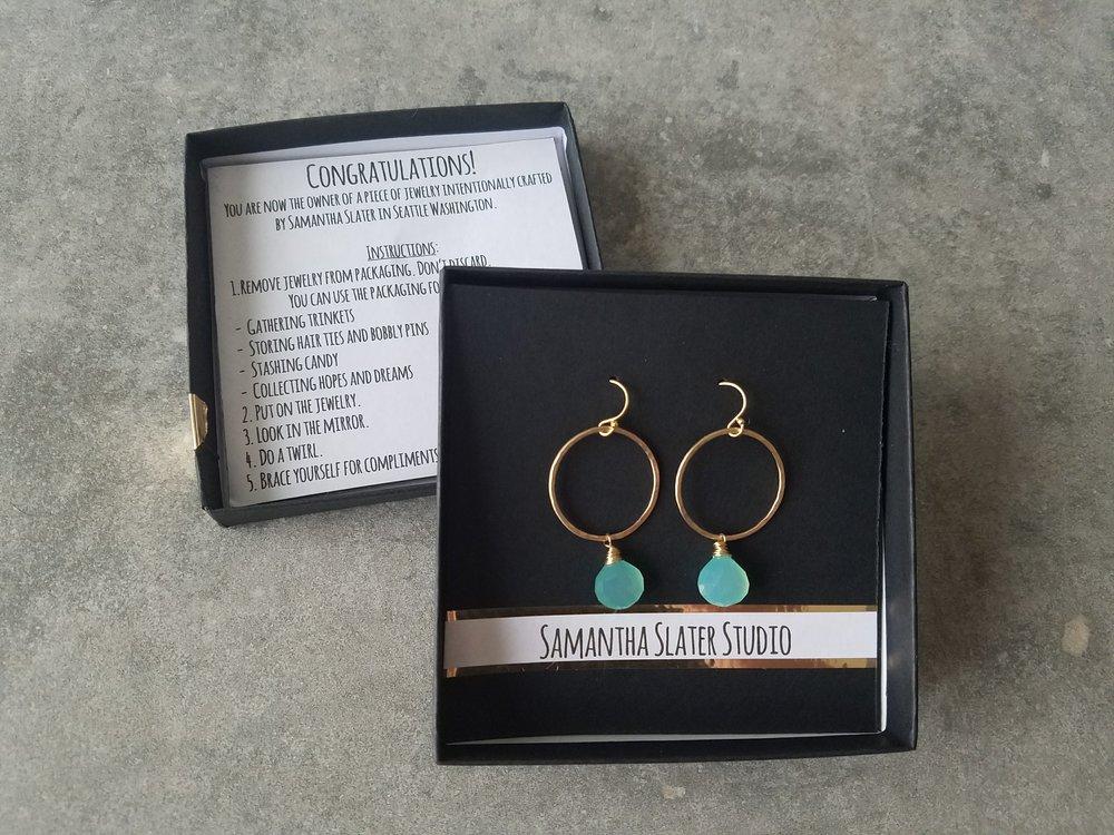view of earring packaging