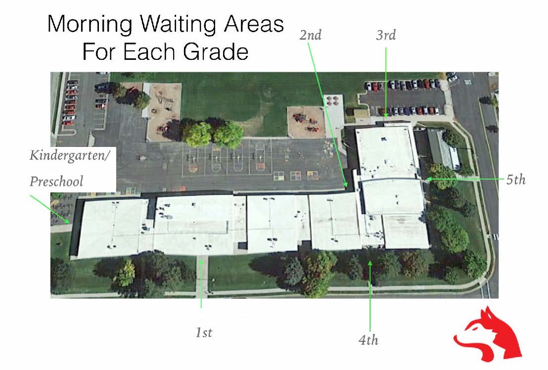 Morning waiting areas for each grade