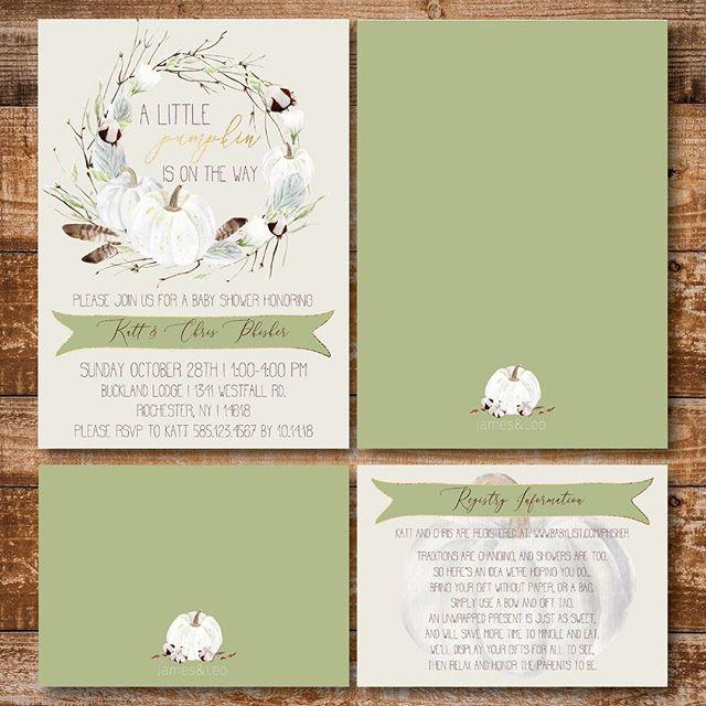 All the fall feels 🍂 . . . . #babyshower #littlepumpkin #invitations #invitationsuite #babyboy #fall #autumn #fresh #design #rustic #babyboy #momtobe