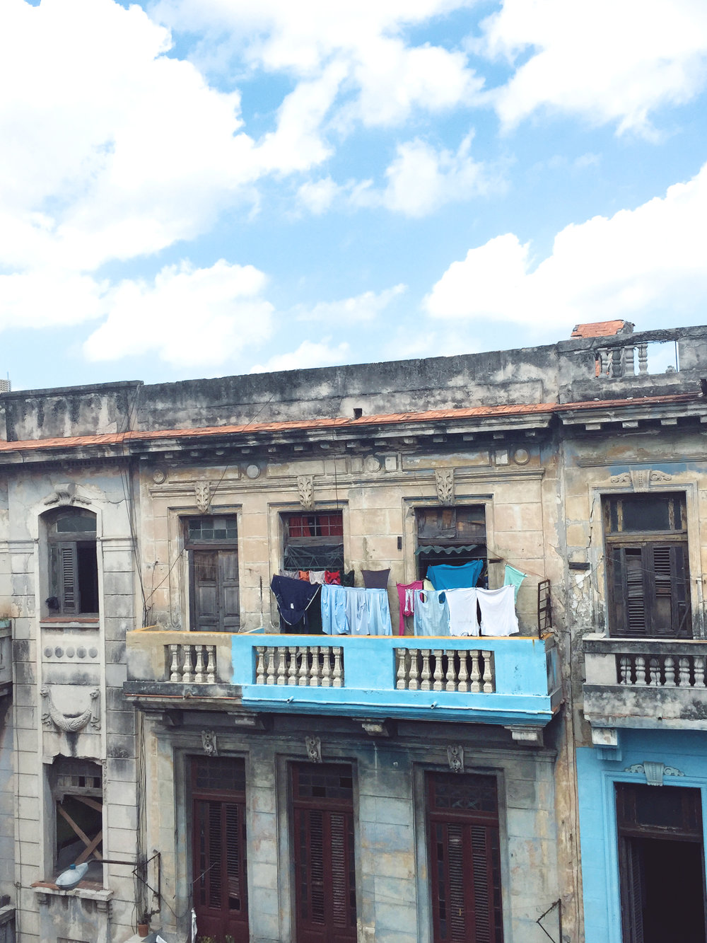 Laundry hanging on a terrace in Centro Habana, the view from my Casa.