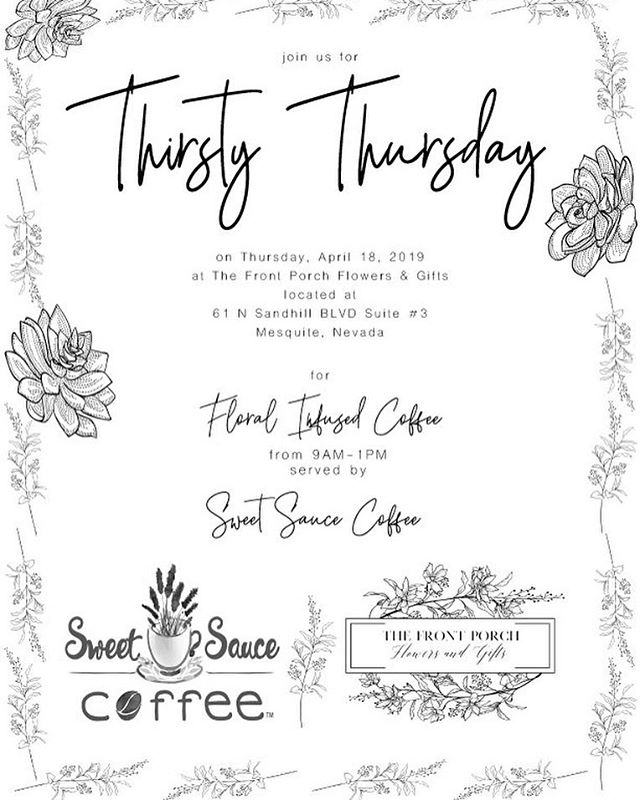 Floral infused coffee will be available at The Front Porch Flowers & Gifts on Thursday, April 18! Mark your calendar for shopping & coffee from 8am-1pm ✨☺️💐our amazing friend Carmen with @sweetsauce_coffee will be making all of the amazing drinks! #thefrontporchflowers #floralcoffee #floralinfusedcoffee