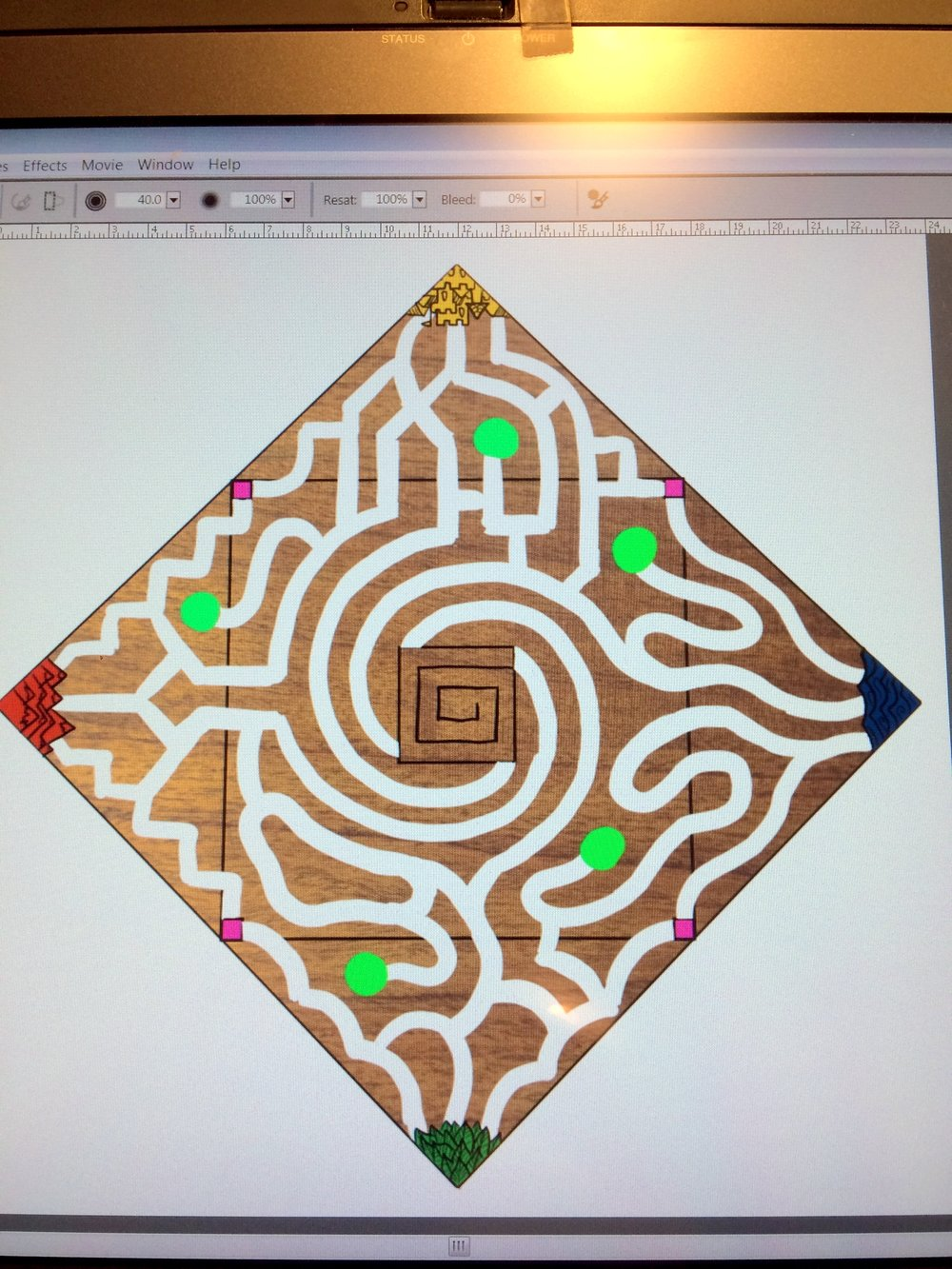 First computer mock-up of what the board might look like. (This is after dozens of paper sketches that all look like the scribblings of a lunatic trying to find his way out of a hedge maze.) The basic idea is that there are four territories, each with a distinctive style, that all meet up and spiral in toward the mountain.