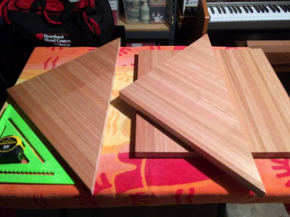 After my first nerve-racking cut, I still had to cut these two triangles in half. So, back to the drawing board…