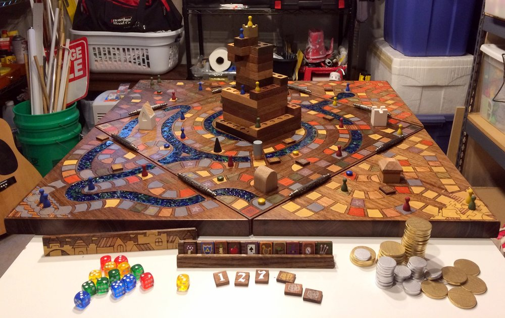 The following few pictures show a lot of the finished products (and a few that still need painting.) This is roughly what the final game will look like; just imagine four HAPPY people sitting around the table, having the time of their lives! :)