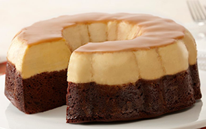 CHOCOFLAN  The BEST of both worlds! Rich, moist, velvety chocolate cake, topped with a layer of luscious, creamy Flan