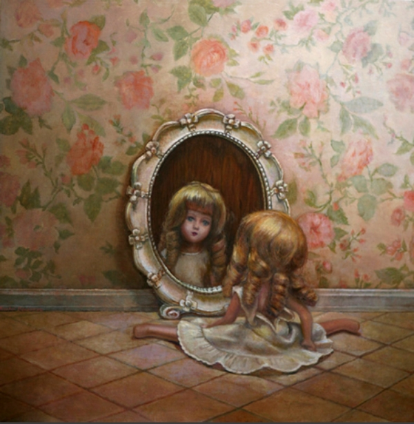 "Reflection, oil on panel, 28""x28"", 2011"