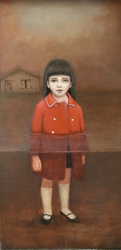 "The Red Coat, oil on panel, 26""x18"", 2014"