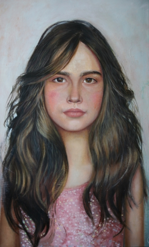 "Sophia, oil on linen, 20""x34"". 2013"