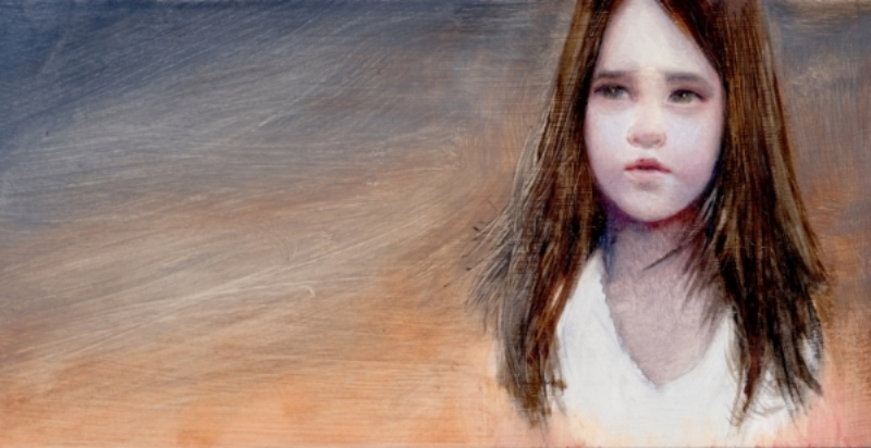 "Study of Girl, oil on panel, 12""x6"", 2014"