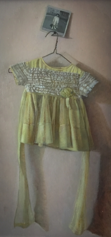 "The Yellow Dress, oil on panel, 17""x34"", 2016"