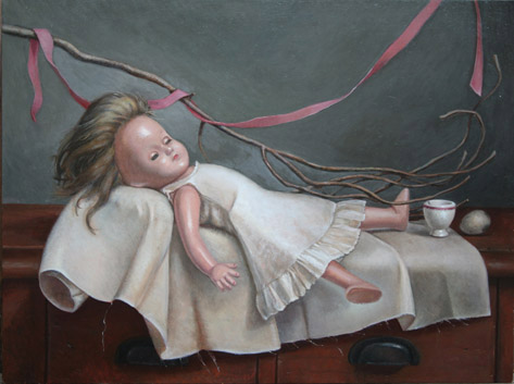 "Delicate Sleeper, oil on panel, 24""x18"", 2009"