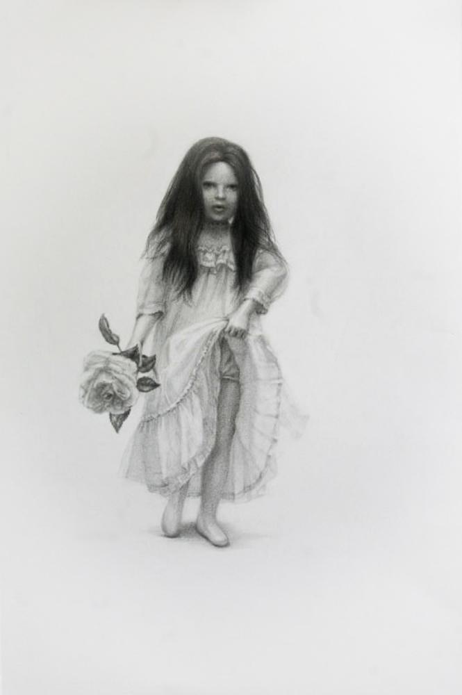 """Mi Rosa, graphite on paper, 14""""x22"""", 2010"""