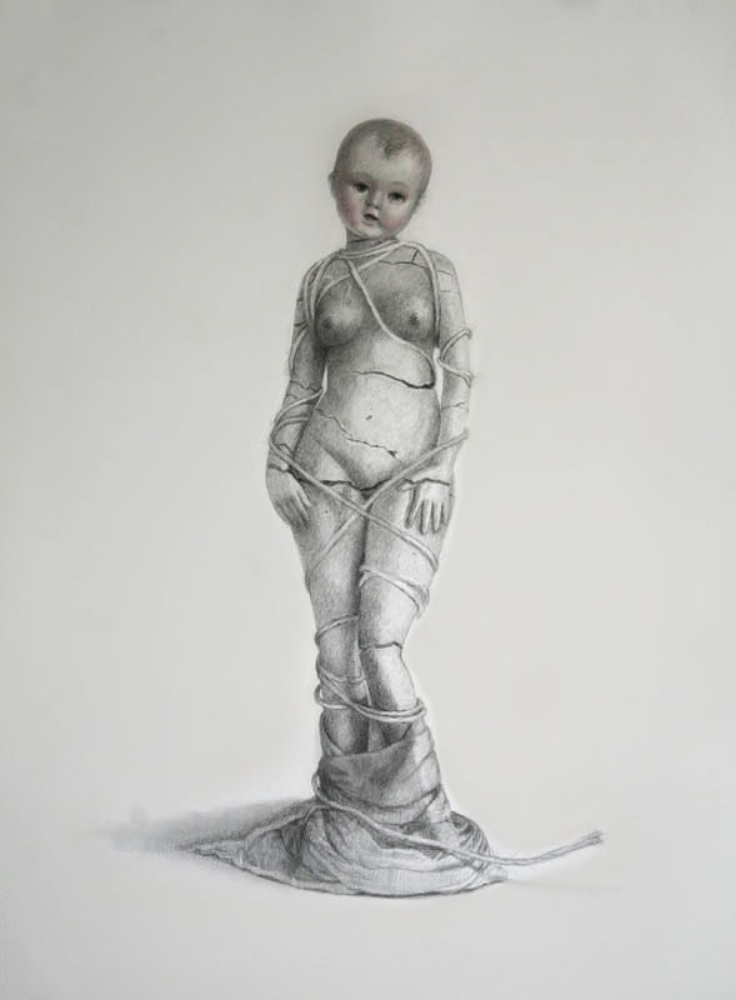 "Venus Baby, graphite and colored pencil on paper, 22""x30"", 2014"