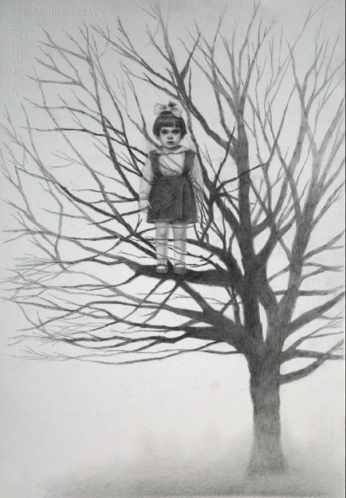 "Out on A Limb, graphite on paper, 14""x22"", 2012"