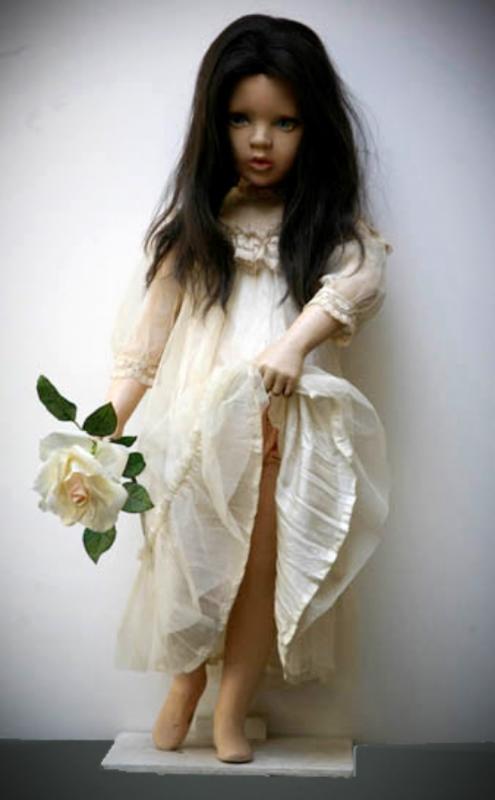 Bella Rosa, vintage mannequin, wig, flower, Victorian dress,2010