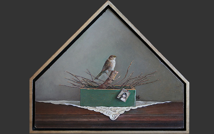 "Eulogy, oil on panel, 22""x26""x13"", 2010"