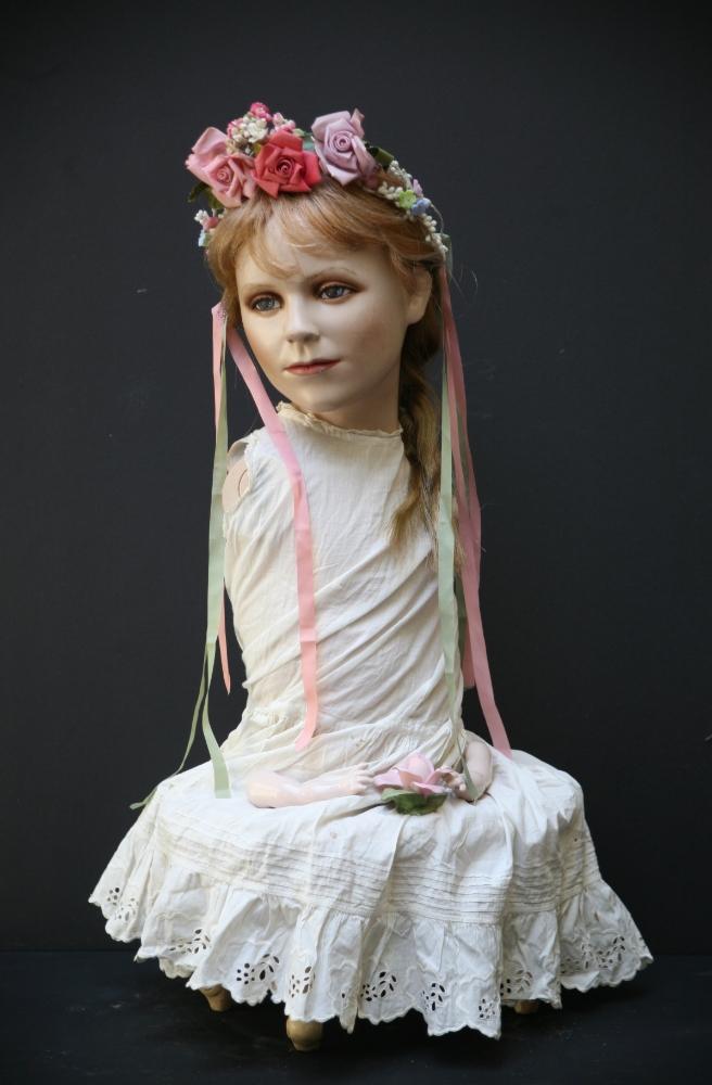 "Arm Candy,Assemblage, vintage mannequin, vintage floral headpiece, wig, Victorian slip, porcelain doll hands, 24""x 30""x14"", 2010"