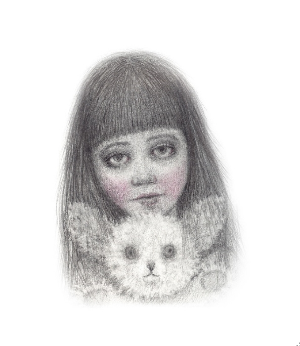 "Friend Maker, graphite on panel, 5""x5"", 2014"