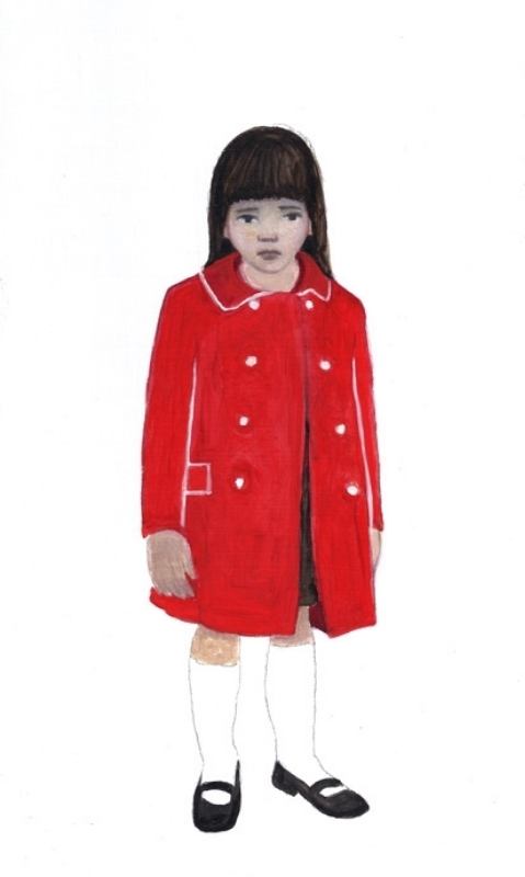 "The Red Coat, oil on panel, 6""x12"", 2010"