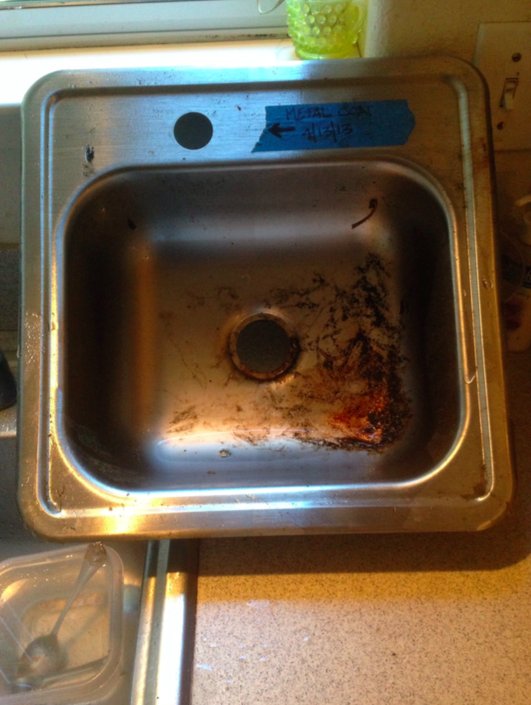 The Sink Has Been Rinsed With Water Only.u0026nbsp;Most Of The Dirt Was