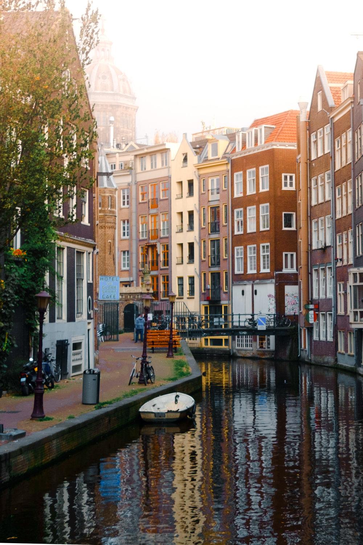 Hazy Amsterdam canals