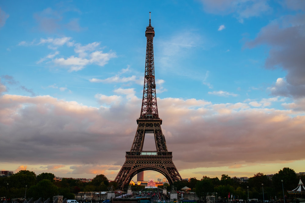 Eiffel Tower sunset Paris