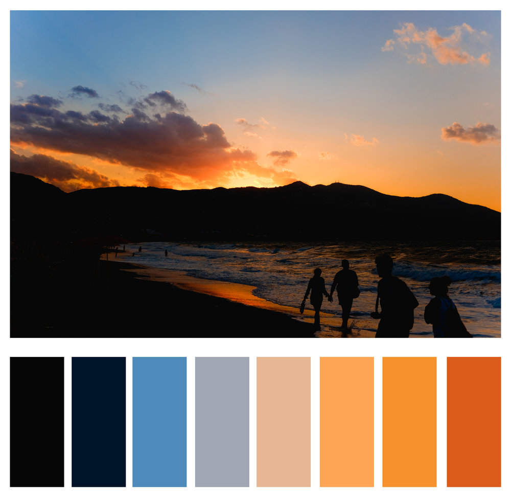 Figure 3c: Darker shades of blue complement oranges.