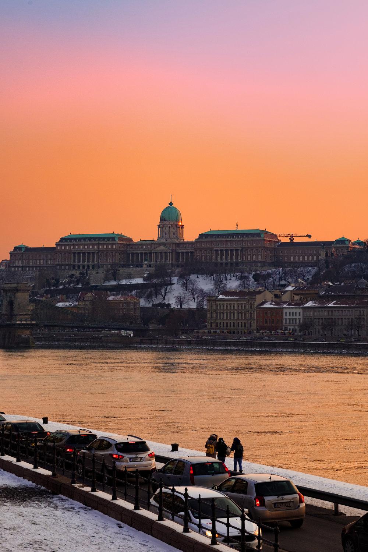 Sunset over Buda castle Budapest