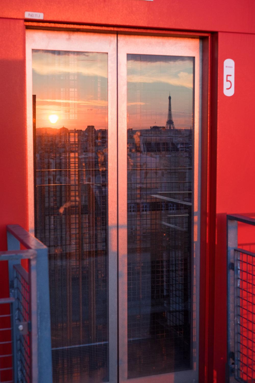 centre pompidou sunset reflection paris