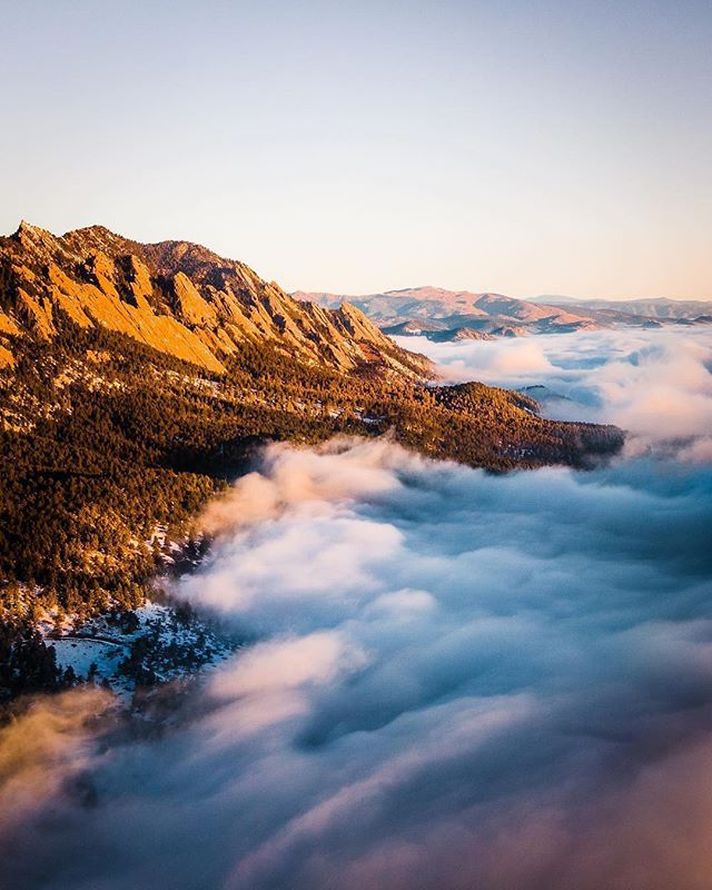 We live, work, and play here. How lucky are we? Incredible shot by @brentongreg of an early morning inversion earlier this week. We've got a long weekend on deck and hope everyone enjoys it! #happyfriday #PLAYboulder
