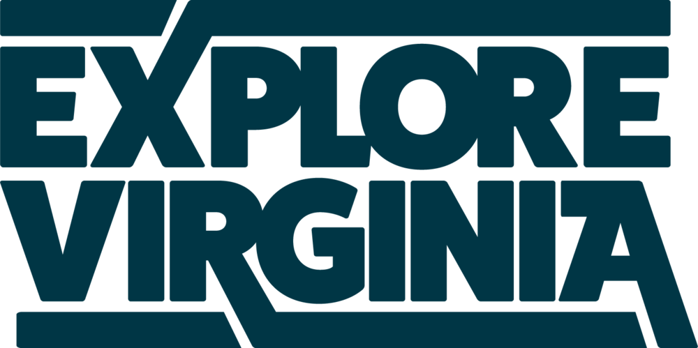 Explore Virginia logo made with custom typography.