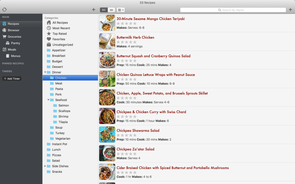 Browse your saved recipes and tag them by categories to make choosing what to eat easy!