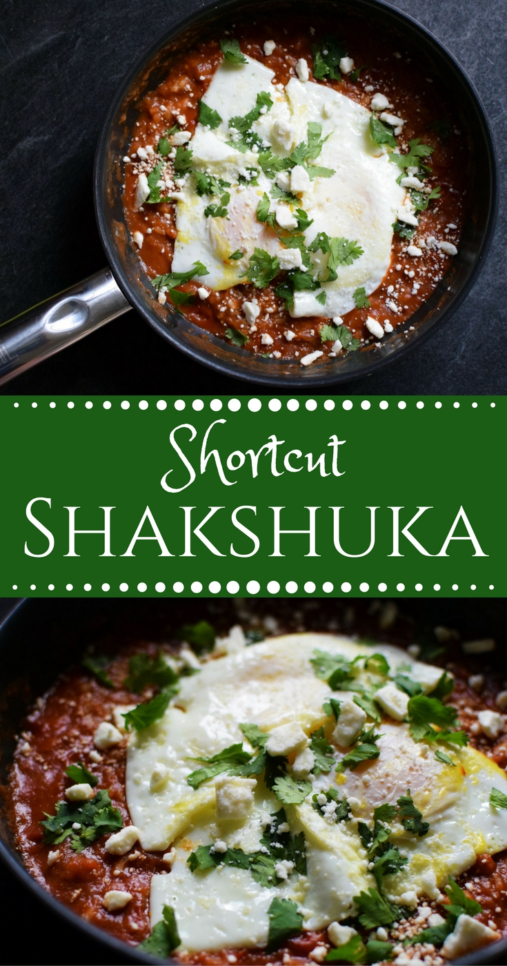 Shakshuka is the best way to eat breakfast for dinner, and this shortcut is ready in 10 minutes or less. | themillennialmenu.com