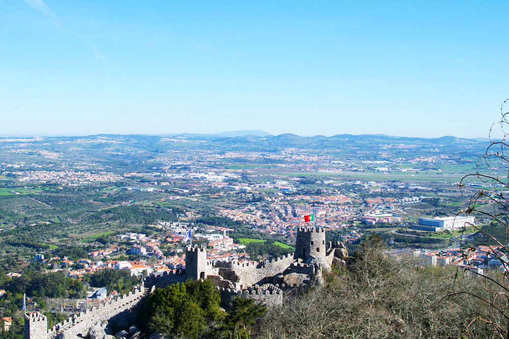 the view of the castle of the moors in sintra, Portugal, from pena palace