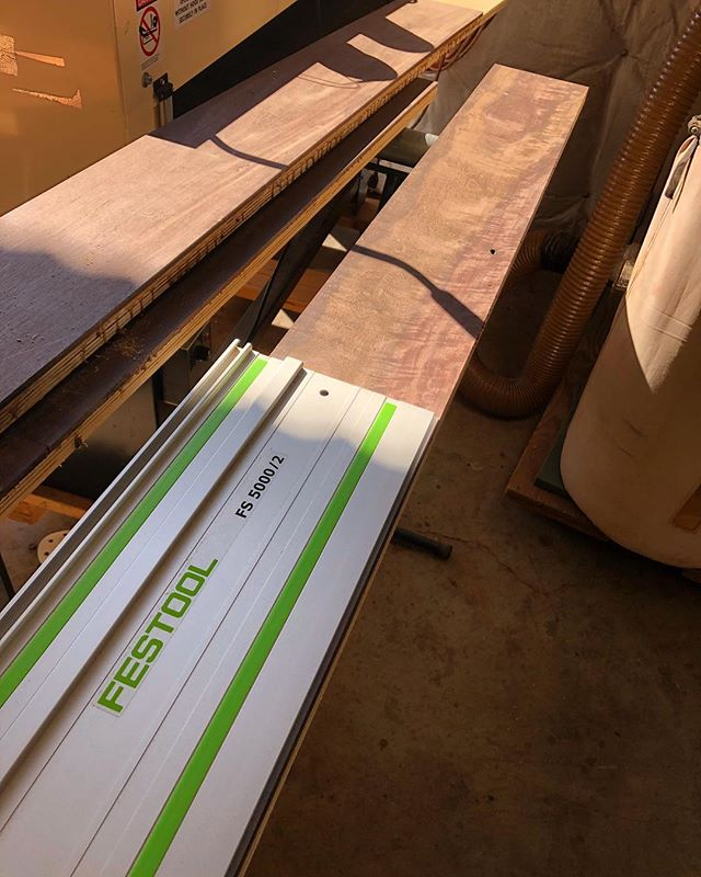 Hey @festool I think we could use a 10000mm track. The 5 doesn't seem to cut it 😂#woodworking #woodwork #festool #tracksaw #ts75 #5000 #10000 #festoolme #toolporn #monday #katalox #enjoy ✌🏻