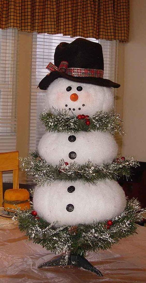 I love the snowman Christmas tree. I actually have one of my own that I like to put in my dining area at Christmas. You can't have Christmas without a little Frosty. via:  Pinterest