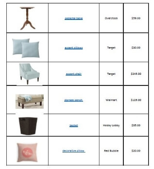 bedroom shopping list