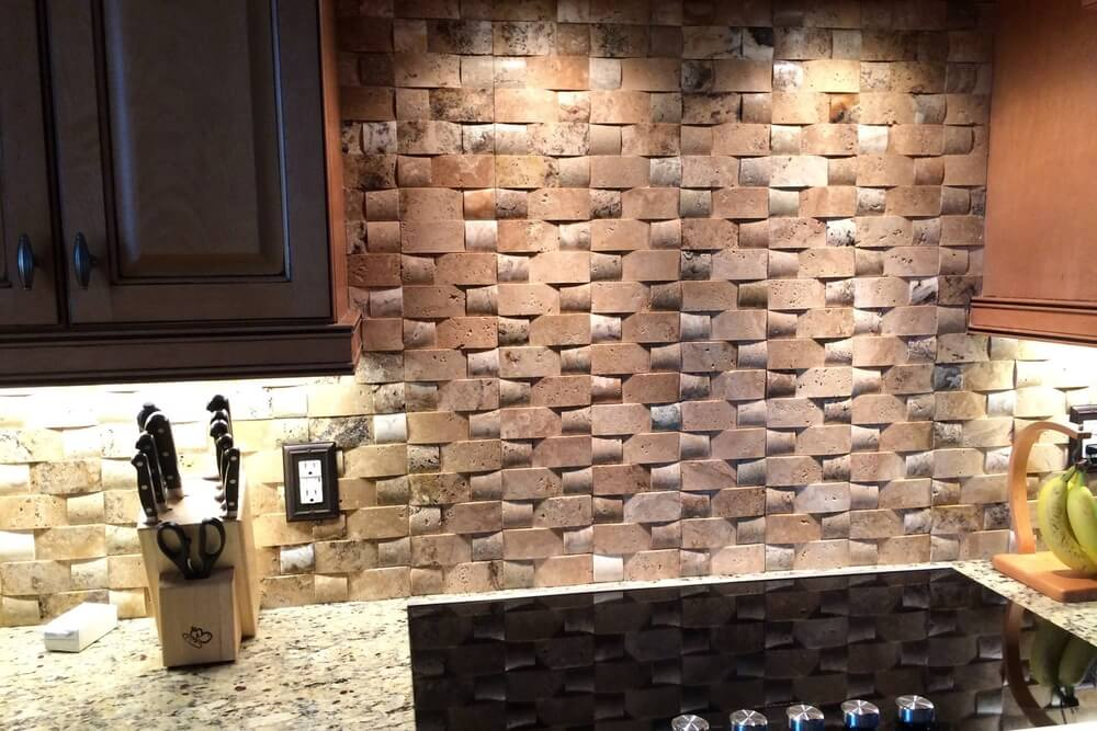Travertine basketweave backsplash