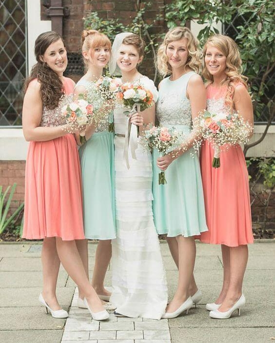 teal and peach decor