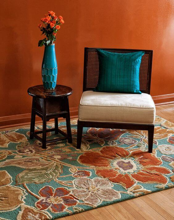 teal and orange decor colors